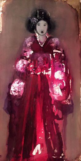 Sans titre au kimono rouge