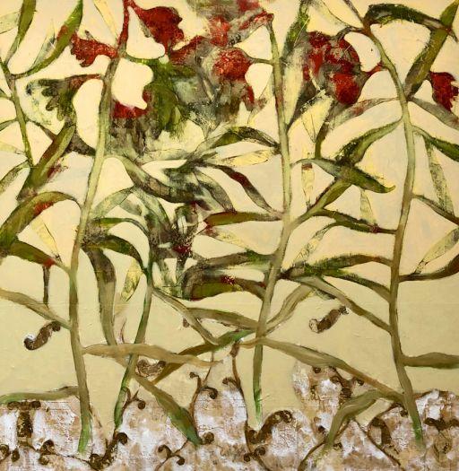 Composition fleurs rouges
