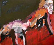 Serge LABEGORRE - Femme étendue au drap rouge