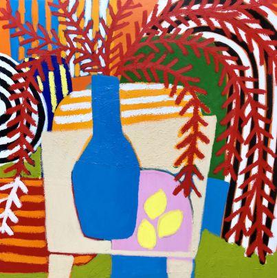 Blue vase with landscape series