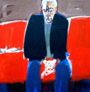 Autoportrait au divan rouge