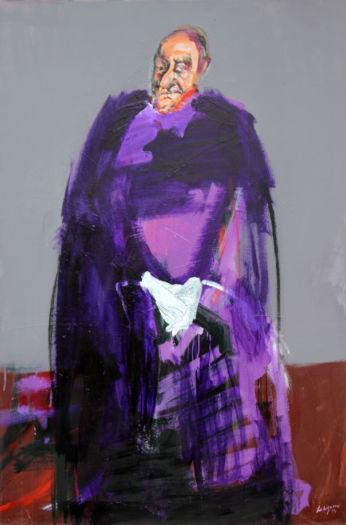Evêque violet aux gants blancs