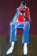 Jeune homme au pantalon bleu